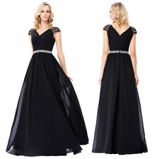 Cap Sleeve V-Neck Black Beaded Chiffon Ball Gown Evening Long Prom Party Dress