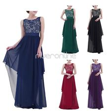 Women Formal Long Chiffon V-back Party Evening Cocktail Wedding Prom Gown Dress