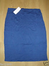 Pretty fashion viscosa Tubino Gonna midi BLU STRETCH ADERENTE misura UK 20/22