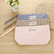 Exquisite small Cosmetic bag Make up brushes case Toiletry canvas tool pouch DE