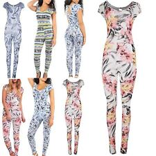 Ladies Womens Celeb Printed Keyhole Cap Sleeve All In 1 Piece Playsuit Jumpsuit