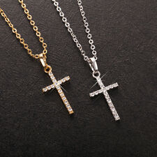 Shiny 18K/ct White Gold/Gold PL Cubic Zirconia Cross Pendant Chain Necklace Gift