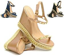 NEW WOMENS LADIES HIGH WEDGE PLATFORM ESPADRILLES PEEP TOE STUDS SANDALS SIZE