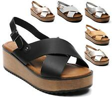 Ladies Chunky Wooden Wedge Peep Toe Slip On Rubber Sole Platform Sandals Shoes