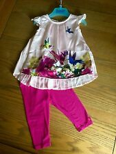 Ted Baker Baby Girls Dress Outfit  Age 3-6 Months Birds Pleated Chiffon Back