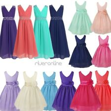 Pageant Girls Chiffon Flower Dresses Princess Wedding Party Ball Gown Bridesmaid