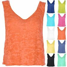 New Women's Burnout Muscle V Neck Front V Back Tank Vest Top Plus Size Uk 8-22