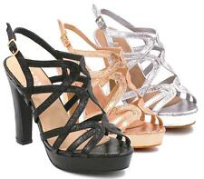 LADIES HIGH HEEL METALLIC ROSE GOLD CUT OUT SLINGBACK BUCKLE SANDALS SHOES SIZES