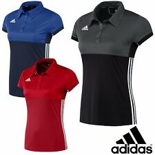 adidas Ladies T16 Sports Polo Shirt Climacool Gym Running Womens T-Shirt Top