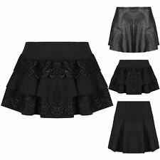 Ladies Women Pleated Frill Lace A-line Flared High Waist Skater Mini Short Skirt