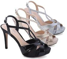 NEW LADIES HIGH HEEL STRAPPY STILETTO SANDALS ANKLE STRAP GLITTER PEEP TOE SHOES