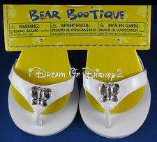 BUILD-A-BEAR SANDALS 'DIAMOND' BUTTERFLY WHITE FLIP-FLOPS TEDDY SHOES NEW