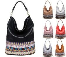 LADIES WOMENS TOTE FAUX LEATHER SLOUCH EMBROIDED SHOPPER HANDBAG SHOULDER BAG