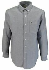 Mens Farah Classic Navy Oxford Long Sleeved Mod Button Down Shirts