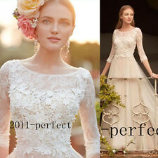 Vintage Ivory Wedding Dress Jewel Neck Lace Applique Bridal Gown Sweep Train New