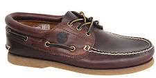 Timberland 3 Eye Classic Lace Up Mens Boat Shoes Deck Brown Leather 76015 U1