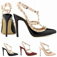 New Womens Pointed Toe Stiletto Ankle Strap Studs Sandals High Heels Party Shoes