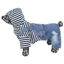 Pet Puppy Dog Cat Denim Jacket Vest Jeans Hoodie Coat Overall Jumper Jumpsuits