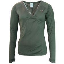 Nike Active Long Sleeve Tee Top Fitness T-shirt Womens Green 253059 330 UA24