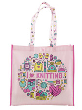 Reusable Craft Shopping Tote Bag I Love Knitting or Sheep & Ball of Wool Design