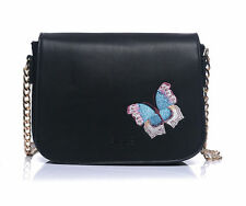 Black Embroidered Butterfly Range Handbag Make Up Bag Large Purse Coin Purses