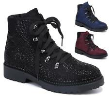 LADIES WOMENS COMBAT ARMY DIAMANTE BIKER FLAT LACE UP WORKER ANKLE BOOTS SIZE