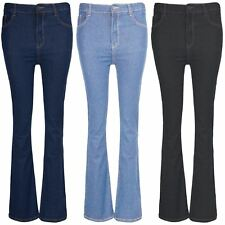 Women Skinny Stretchy Fit Ladies Zip Up Boot Cut Flared Bottom Denim Jeans Pants