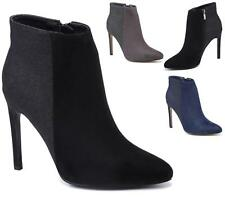 WOMENS POINTED TOE HIGH HEEL STILETTO FAUX SUEDE / GLITTER ANKLE BOOTS SIZE 3-8