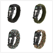 Outdoor Survival Parachute Cord Bracelet Rope Flint Fire Whistle Useful Tools