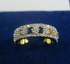 NEW ONE GRAM GOLD PLATED FINGER RING CUBIC ZIRCONIA AMERICAN DIAMOND F487