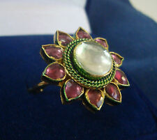 NEW ONE GRAM GOLD PLATED KUNDAN PACHIKAM STONE ADJUSTABLE FINGER RING F495