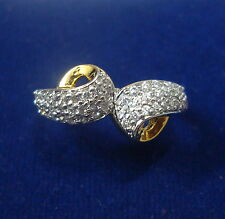NEW ONE GRAM GOLD PLATED FINGER RING CUBIC ZIRCONIA AMERICAN DIAMOND F337
