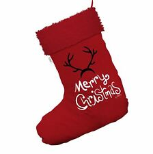 Merry Christmas Reindeer Antlers Red Christmas Stockings With Red Trim