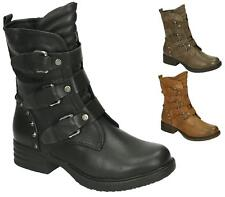 WOMENS MILITARY WORKER STUDS BUCKLE STRAP FLAT BIKER ZIP LADIES ANKLE BOOTS