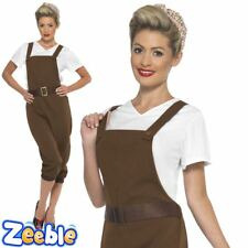 Womens WWII Land Girl Costume Adults 1940s Wartime Fancy Dress Ladies 40s Outfit