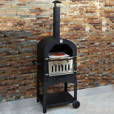 Outdoor Pizza Oven Garden Wood Fired Chimney Charcoal BBQ Smoker Bread Oven