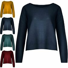 Ladies Round Neck Long Sleeve Sweater Women Waffle Knitted Stretchy Jumper Top