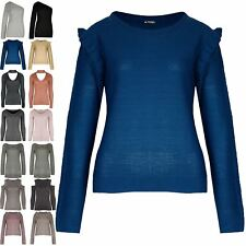 Womens Knitted Peplum Ruffle Frill Sleeve Ladies Side Slit Sweater Jumper Top