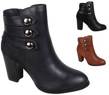 NEW WOMENS LADIES FAUX LEATHER/SUEDE BLOCK HEEL ZIP SHORT ANKLE BOOTS SIZE 3-8