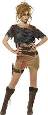 Ladies Zombie Action Girl Costume Huntress Raider Halloween Fancy Dress