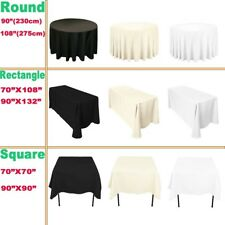 Round Rectangle Square  Tablecloth White Black Ivory Polyester Table Cloth Cover