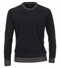 casamoda pull bleu marine manches longues normal coupe étroite Col Rond 100%