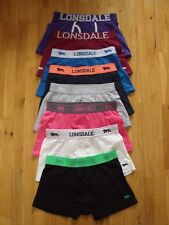 Lonsdale 2 Pack Boxer Shorts Trunks Underwear Blue Grey Black Pink Size M  New