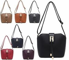 WOMENS SMALL VINTAGE FAUX LEATHER CROSS OVER BUCKET SATCHEL LADIES BARREL BAG