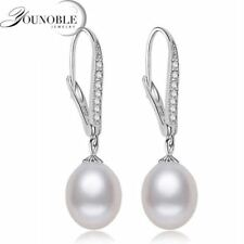 Real Freshwater Pearl Earring Sterling Silver 925 Jewelry,Drop Natural Pearl Ear