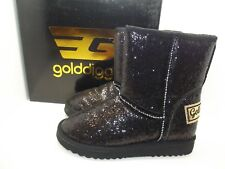 GOLDDIGGA LADIES GIRLS BLACK GLITTER PULL ON FAUX FUR LINED ANKLE BOOTS UK 3 - 8