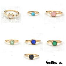Select Your 6mm Cushion Shape Single Solitaire Gold Plated Gemstone Ring. 12008