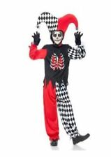 Blood Curdling Jester Fancy Dress Halloween Costume Age 7 - 13+ Teen Outfit