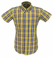 Relco Yellow Check 100% Cotton Short Sleeved Vintage/Retro Mod Button Down shirt