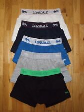 Lonsdale Pack 2 pares Shorts Bóxers Ropa Interior Azul Gris Negro Talla S NUEVO